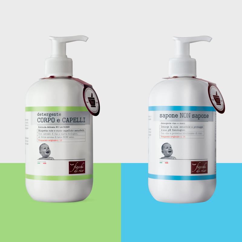 cofanetto FIOCCO detergente e sapone Detergente corpo e capelli Talco 400 ml| Sapone Non Sapone 240ml